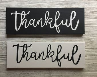 Black and White 4x12 Thankful Painted Canvas Wall Art, Thankful Sign, Thankful Canvas