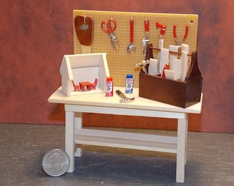 Dollhouse Miniature Tool Work Bench with Tools C  1:12 One Inch Scale  Dollys Gallery  Y62