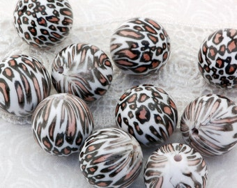 20 Acrylic LEOPARD or CHEETAH Spotted round Beads, 12mm bac0216