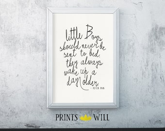 Peter Pan Nursery, Peter Pan Quote, Typography Print, Nursery Wall Art, Nursery Decor, Nursery Printable, Printable Quote, Nursery Art