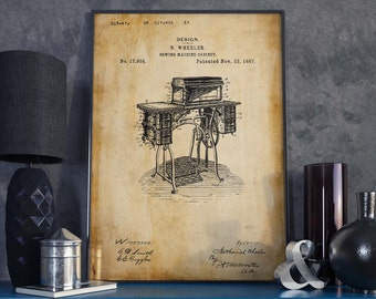 Sewing Machine Cabinet Patent Print  Christmas Gift  Home Decor  Gift for Mom  Wall Poster  Gift for Tailor  Tailor Shop Decor  HPH322