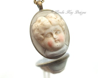 Frozen Charlotte Necklace Simple Style Antique Blonde Doll Head Pendant Lorelie Kay Original
