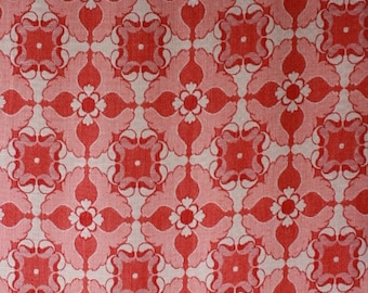 Red seventies curtain fabric, unused, woven fabric