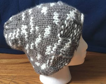 Gray and White Winter Hat