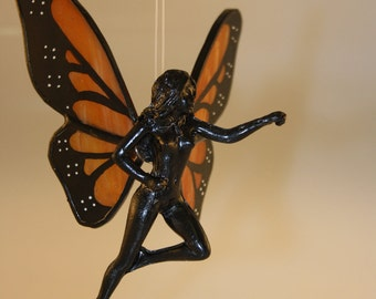 Stained Glass Monarch Butterfly Fairy Hand-Painted Nude Flying Figurine - Made to Order (MON011)