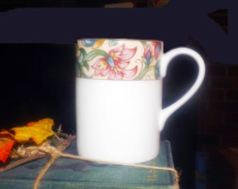 Vintage (1996) Royal Doulton Jacobean TC1216 coffee or tea mug. Broad yellow band with multicolor florals, white ground.