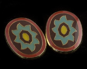Vintage cloisonné on brass cabochon. 18x12mm. Pkg of 2. b5-849(e)