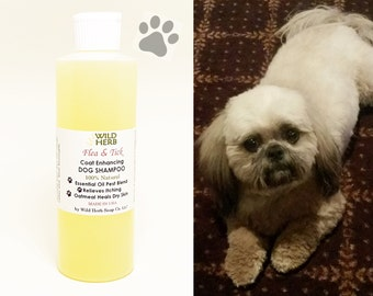Flea & Tick Dog Shampoo, 8 oz Organic Natural Liquid Oatmeal Formula with Essential Oils (8 oz size) by Wild Herb Soap Co.