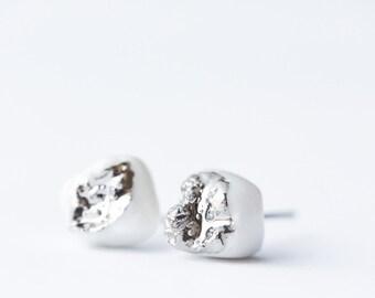 Druzy earrings, porcelain jewelry, druzy stud earrings, teeth jewelry, platinum earrings, tribal earrings, lightweight earrings, SE013