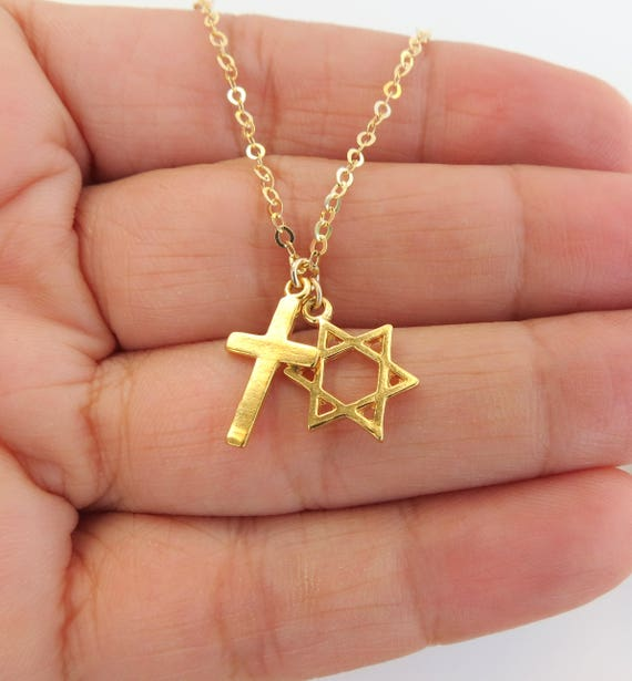 Star of david with cross necklace cross with david star aloadofball