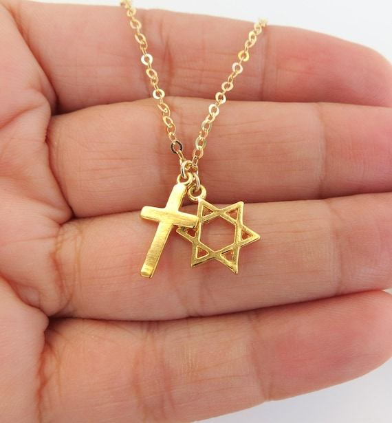 Star of david with cross necklace cross with david star aloadofball Gallery