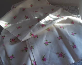 Vintage fabric Linen pink roses  yardage New Old Stock