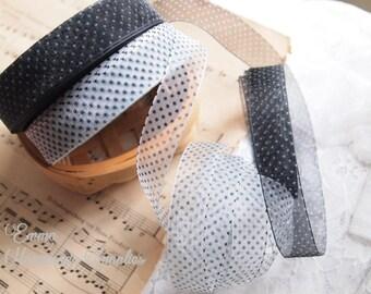 """5 meters 18mm (3/4"""") Polk dots Organza Ribbon // White, Black // Sheer Ribbon // Hair bow Ribbon"""