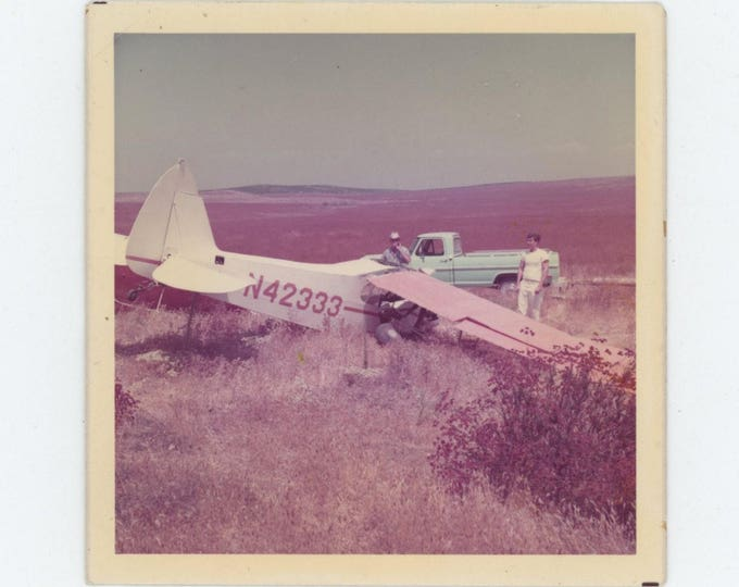 Vintage Snapshot Photo: Plane Crash [Pink & Turquoise] c1960s-70s (127625)