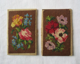 2 vintage LITTLE tapestry, 1950s 1960s, Tapisserie, Embroidery, Cross stitch, Embroidered Flowers, Fleurs