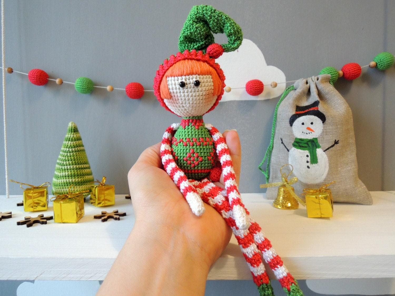 Amigurumi Christmas : Elf xmas amigurumi crochet art doll holiday gift ideas