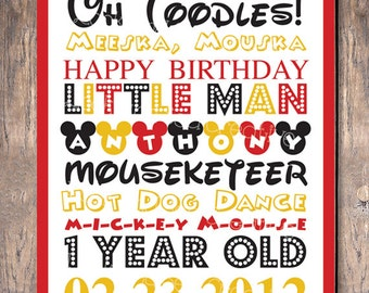 Mickey Mouse Birthday Party Custom Sign Subway Art (Digital File)