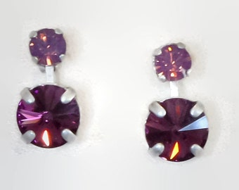 Swarovski crystal 10mm rivoli  fancy stone stud and drop earrings amethyst & cyclamen opal,antique silver pl.,awesome