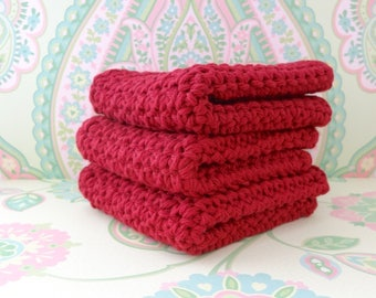 Crochet Burgundy Wash Cloths/Face Cloths/Bath Cloths/Kitchen Cloths/Dish Cloths made with cotton yarn - Set of 3 - Ready to Ship
