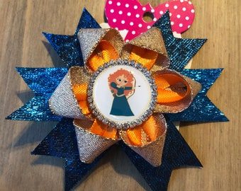 Blue and gold Meredith rosette hair clip