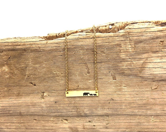 MAMA BEAR: delicate bar necklace