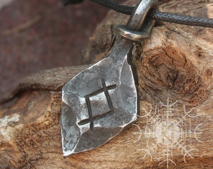 Forged Iron Othala Rune Viking Amulet Runic Nordic Pendant Talisman Necklace
