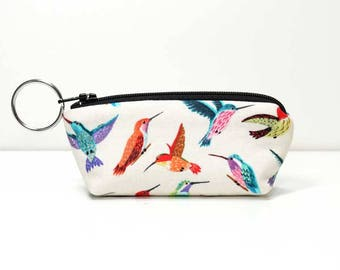 Mini Zipper Pouch with Key Ring - Hummingbirds on Cream - Coin Purse - Capstick Pouch - Earbud Pouch - Ear Phone Pouch - Made to Order