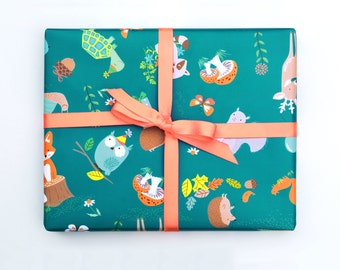 Birthday Wrapping Paper Sheets - Woodland Forest party Gift wrap