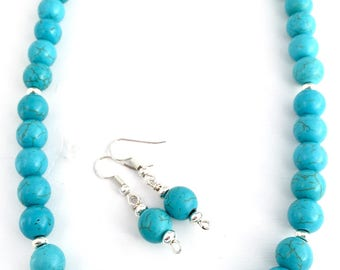 Turquoise beaded necklace - Beaded turquoise necklace - Turquoise necklace