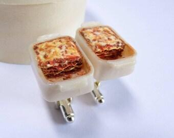 Lasagna in a Dish Cufflinks - Italian Food Cuff links - Miniature Food Art Jewelry - Schickie Mickie Original 100% handmade