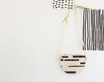 Small Crossbody Zippered  Bag / Women's Bag /  Half Moon Bag / Blockprinted Bag / Handprinted with Linoleum / Stripes Print