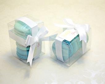 Turquoise Blue Ombre Favor Boxes - 12 Blue Shower Favors, Blue and White Bridal Favors