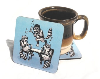 Raccoon Underwater Gin Party Coaster