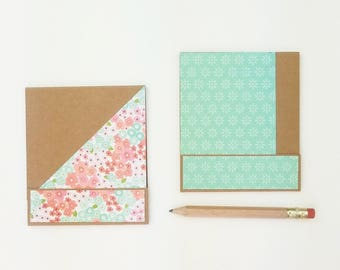 Set of 2 Matchbook Notepads w/Pencil / Handmade Notebooks // Gift Idea for Teens & Kids / Christmas Gifts Under 5