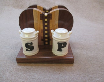 Handcrafted solid Wood Salt & Pepper Shaker, Napkin Holder
