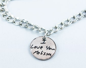 Memorial Jewelry - Actual Writing Signature or short note on a Sterling Silver Charm Bracelet - Handwriting Jewelry Signature Bracelet