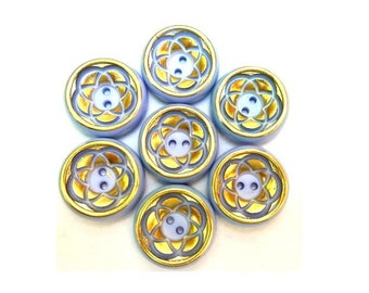 6 Flower buttons vintage blue purple with gold color trim 21mm, 6mm height