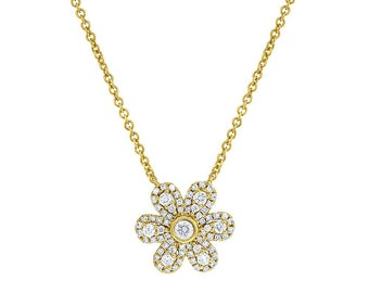 Flower Diamond Pendant, Necklace Pendant, Designer 14K Gold Pendant, Fashion  Pendant Jewelry,  Gold diamond Pendant, Women Designer Jewelry