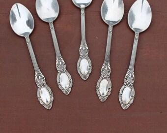 German silver teaspoons Melchior teaspoons German silver spoons Silver flatware Silver dessert spoon set Soviet teaspoon set of 5