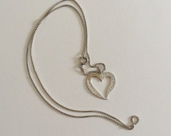 Vintage Follow Your Heart 925 Sterling Silver Open Heart Pendant Necklace