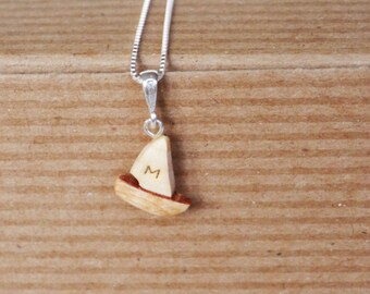 Personalised wooden sailing boat necklace