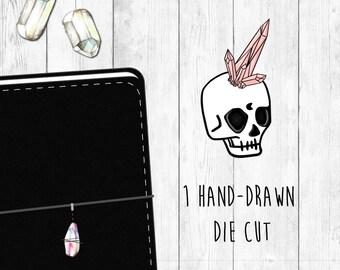 Magical Till Death Skull Hand-Drawn Die Cut