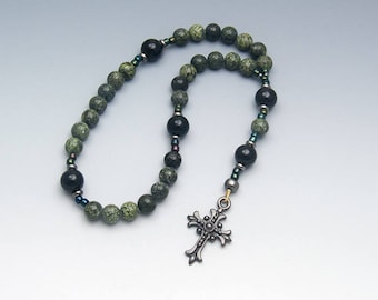 Methodist Prayer Beads - Serpentine Onyx Gemstones - Contemporary Christian Rosary - Item # 749
