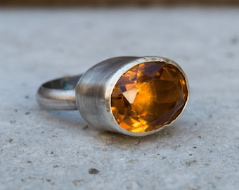 Citrine ring, Sterling silver ring, Statement ring, November birthstone ring, Handmade sterling silver ring, Gemstone ring, Gift for her
