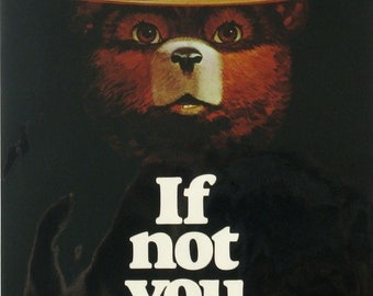 If not you, who?, Smokey Bear poster, vintage poster, bears, vintage, wildlife, cabin decor, Americana,