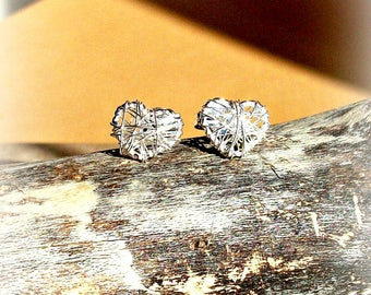 Heart Stud Earrings Wire Wrapped In Sterling Silver - Gift For Her
