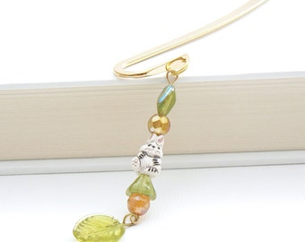 Beaded Bookmark - Ceramic Bunny Bead, Green Glass Leaf, Czech Glass Beads, Golden Honey Yellow, Kawaii Cute Rabbit