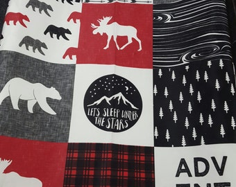 Woodland Moose Contour Changing Pad Cover - Red Black Check, Bears, Adventure, Woodland