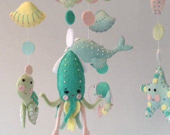 Ocean Themed Baby Mobile, Under the Sea Baby Crib mobile, Pastel Nursery Mobile, Nursery Mobile, Nursery Decor, Gift For New Baby