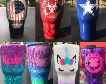PLEASE READ item details// Personalized tumblers// glitter tumbler// custom glitter tumbler// rtic// yeti// ozark trails